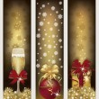 Set golden Christmas banners, vector illustration — Stock Vector
