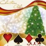 Christmas poker casino background, vector illustration — Stock Vector #34660979