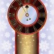 Elegant Christmas card with New Year clock, vector illustration — Stockvectorbeeld