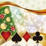 Christmas poker casino card, vector illustration — Stock Vector #34661263