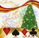 Christmas poker casino background, vector illustration — Stock Vector