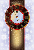 Elegant Christmas card with New Year clock, vector illustration — Vettoriale Stock