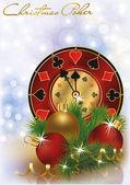 Noel poker tebrik kartı, vektör çizim — Stok Vektör