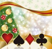 Christmas card casino poker, ilustracji wektorowych — Wektor stockowy