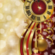 New Year background with xmas clock, vector illustration — Imagen vectorial