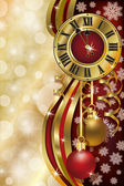New Year background with xmas clock, vector illustration — Stockvector