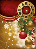 New Year invitation card with xmas clock, vector illustration — Stok Vektör