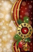 New Year greeting banner with xmas clock, vector illustration — Vector de stock