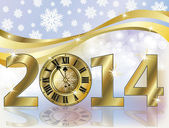 Golden New 2014 year banner, vector illustration — Stok Vektör