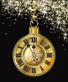 Golden Christmas clock, vector illustration — Stock Vector