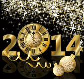 Golden New 2014 Year card, vector illustration — Vector de stock