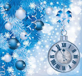 Elegant Christmas clock, vector illustration — Stok Vektör