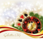 Christmas Poker greeting casino banner, vector illustration — Stock Vector