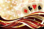 Casino poker cards banner, vector illustration — Stock Vector