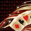 Casino banner with poker cards, vector illustration — Stok Vektör