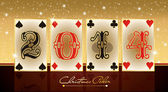 New 2014 Poker Year, greeting card, vector illustration — Stock Vector