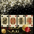 New 2014 Year poker style, casino greeting card, vector illustration — Stok Vektör