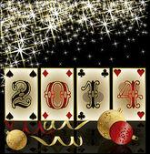 Nya 2014 år poker stil, kasinot hälsningskort, vektor illustration — Stockvektor