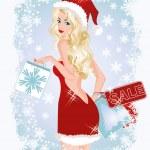Christmas shopping sexy woman, vector illustration — Stock Vector #35726201