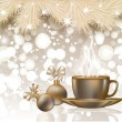 Merry Christmas greeting card with coffee cup, vector illustration — Stok Vektör