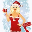 Christmas shopping blonde girl, vector illustration — Stock Vector