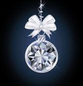 Diamond Christmas ball, vector illustration — Stock Vector
