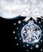 New Year card with diamond christmas ball, vector illustration — Stock Vector