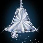 Diamond christmas bell, vector illustration — Stock Vector