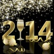Happy New 2014 year card with champagne, vector illustration — Stock Vector #37610809