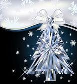 Diamond julgran kort med båge, vektor illustration — Stockvektor