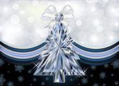 Diamant weihnachtsbaum banner, vektor-illustration — Stockvektor