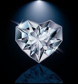 Shiny diamond heart, vector illustration — 图库矢量图片
