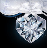 Valentine day card with diamond heart, vector illustration — Stock Vector
