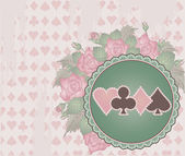 Vintage Poker background with flowers, vector illustration — Stock Vector