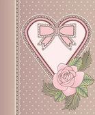 älska vintage kort med hjärtat och rose, vektor illustration — Stockvektor