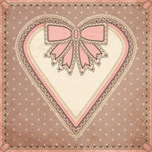 Vintage Valentine day greeting card, vector illustration — Vector de stock