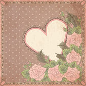 Vintage valentines day greeting card, vector illustration — 图库矢量图片