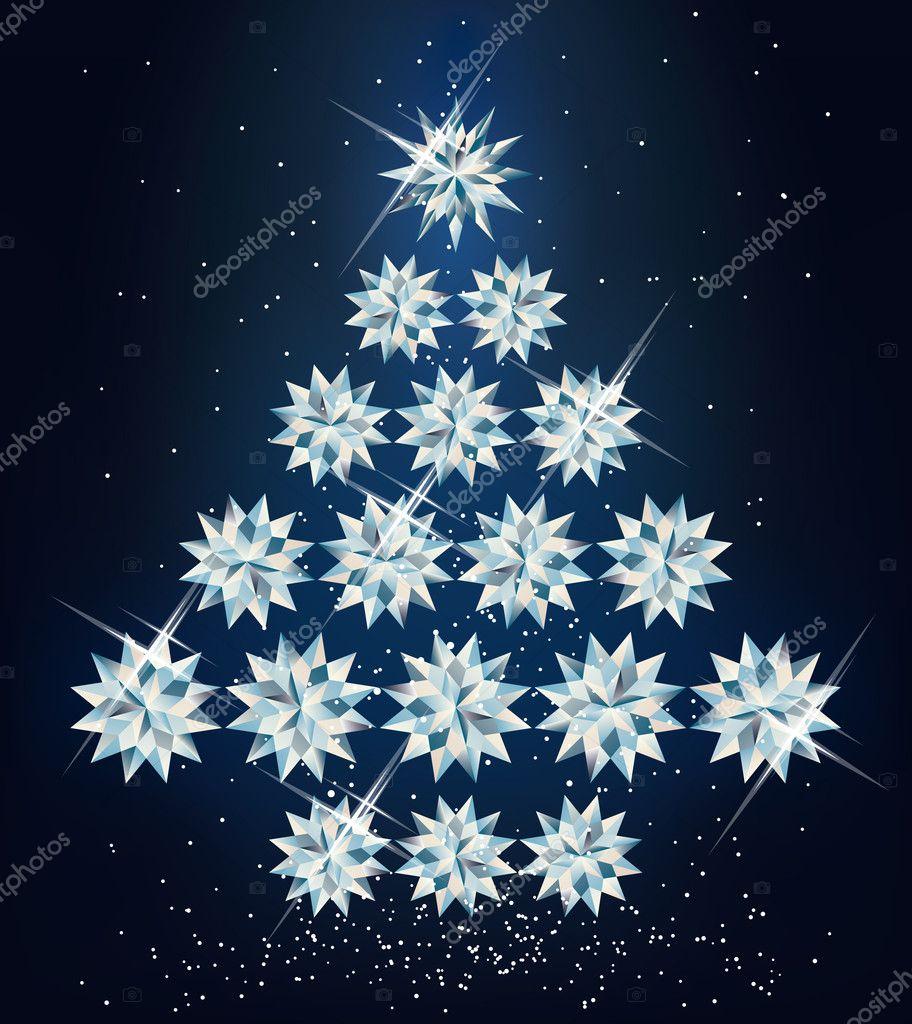 钻石的圣诞树.矢量插画