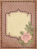 Vintage greeting card with rose, vector illustration — Vecteur