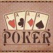 Vintage casino background with poker cards, vector illustration — Vector de stock