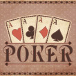 Vintage casino background with poker cards, vector illustration — Stok Vektör