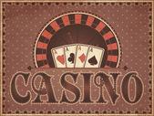 Ročník kasino pozvánka, vektorové ilustrace — Stock vektor