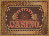 Old vintage casino background with golden money, vector illustration — Stock Vector