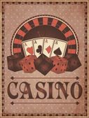 Old vintage casino invitation card, vector illustration — Stock Vector