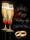 Happy Wedding day greeting card, vector illustration — Stock Vector