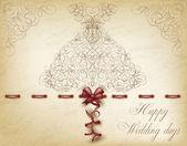 Happy Wedding day greeting postcard, vector illustration — Stock Vector