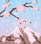 Season sakura mount Fuji background, vector illustration — Stock Vector