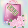 Stock Vector: Spring sale shopping bag, vector illustration