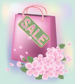 Spring sale shopping bag, vector illustration — Wektor stockowy