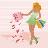 Red hair woman with shopping bags, vector illustration — Vetorial Stock